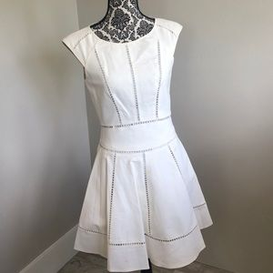 Reiss off white eyelet fit and flare dress size 4